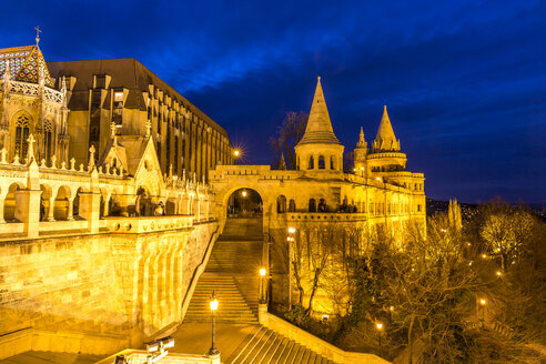 Hungary, Budapest, View to Fisherman's Bastion, blue hour - MABF000317