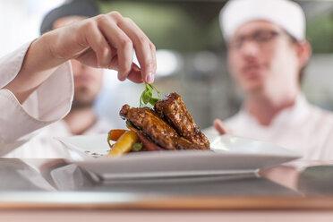 Chef garnishing plate with food - ZEF005170