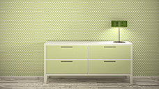 Lamp on sideboard at dotted wallpaper, 3d rendering - UWF000486