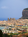 Italy, Sicily, Cefalu, View of Cefalu with Cefalu Cathedral - AMF004037