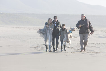 South Africa, Cape Town, family walking on the beach with dog - ZEF005246