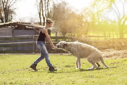 Woman training Irish Wolfhound on a meadow - TAMF000168