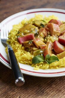 Persian stew with rhubarb-seitan, served on basmati rice - HAWF000786