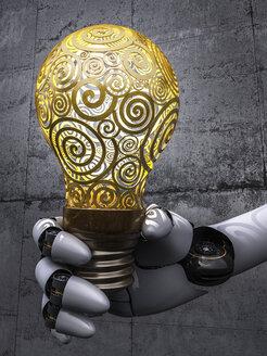 Robot holding lightbulb, 3d rendering - AHUF000005