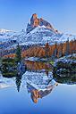 Italy, Dolomites, Belluno, mountain Becco di Mezzodi reflecting in Federa Lake at sunset - RUEF001613