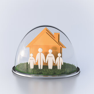 House and family under glass dome, 3d rendering - UWF000496