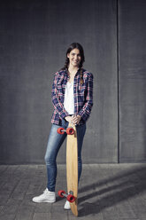 Young woman with longboard - RBF002879