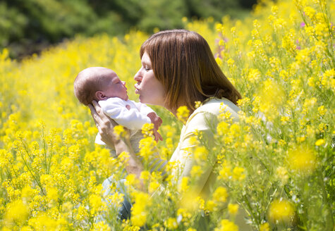 Mother with her baby girl on yellow blossoming field of flowers - WWF003898
