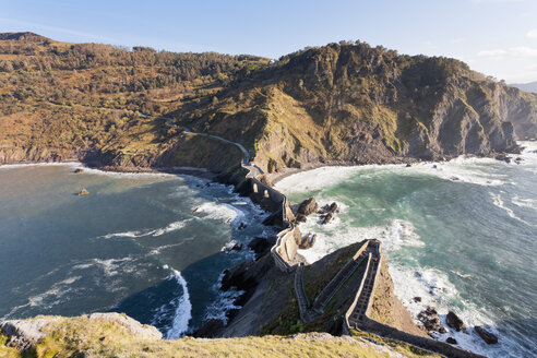 Spain, Biscay, Basque Country, Steps to the San Juan de Gaztelugatxe, chapel on a rocky island - MSF004588