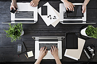 Working at home office with laptop, smartphone and digital tablet - PDF000974