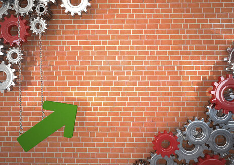 3d illustration, Industrial growth, green arrow and gears - ALF000533