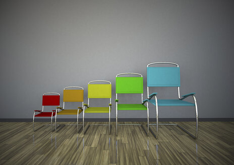 3d illustration, Growing chairs chart - ALF000531