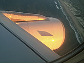 View on an aircraft engine, coastline of Portugal - MSF004597
