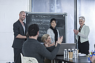 Business colleagues applauding on a casual meeting - ZEF005627