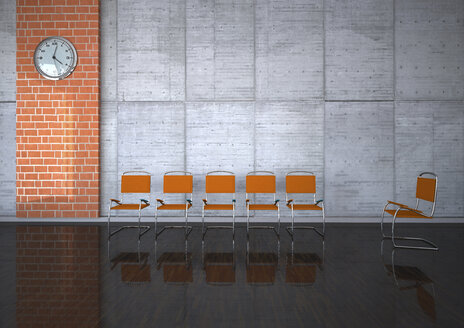 Therapy room with orange chairs and wall clock, 3D Rendering - ALF000535