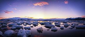 Iceland, view to Jokulsarlon Ice Lagoon at twilight - SMAF000331