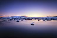 Iceland, view to Jokulsarlon Ice Lagoon at twilight - SMAF000333