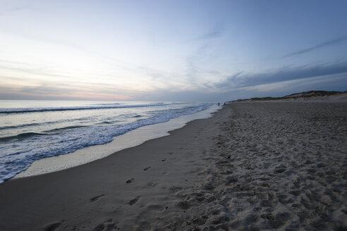 France, Lacanau-Ocean, sunset at beach - MYF001012