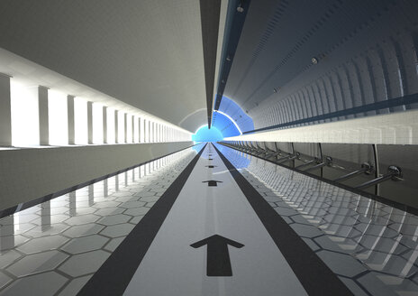Direction arrows in a tunnel, 3D Rendering - ALF000539