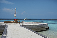 Maldives, crane on jetty at the ocean - STKF001278