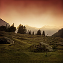 Italy, Lombardy, Chiareggio, Valmalenco, Mountains, lonely man on meadow at sunrise - DWIF000519