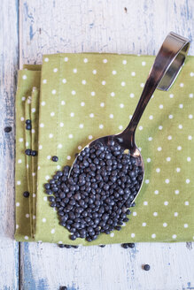 Spoon of beluga lentils on cloth - SBDF002030