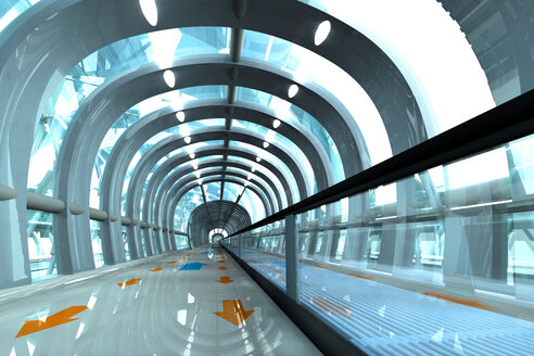 3D Rendered Illustration, Architecture visualization of a futuristic subway or train station - SPCF000050