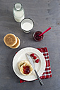 Toasties with strawberry raspberry jam and glass of milk - MYF001040