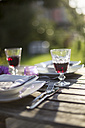 Laid garden table with two glasses of red wine at backlight - SARF001924
