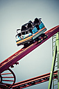 Germany, Hamburg, Rollercoaster, empty waggon - KRPF001428