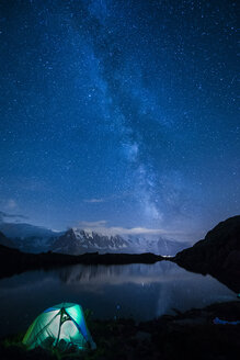 France, Mont Blanc, Lake Cheserys, lit tent on the shore of the lake by night with Milky way and Mount Blanc reflected in the lake - LOMF000005