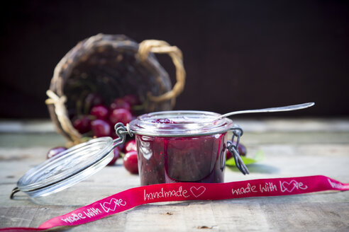 Jar of cherry jam and cherries, ribbon, handmade - LVF003537