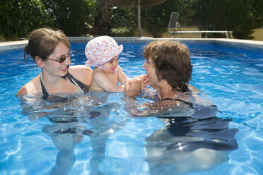 Spain, Majorca, baby girl with mother and granny in the pool - ROMF000064