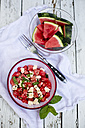 Fresh watermelon salad with feta cheese, mint and sesame - SARF001983