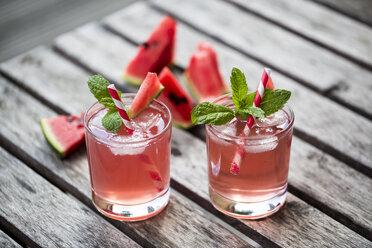 Watermelon-Hugo, Mojito in glasses with drinking straw - SARF001986