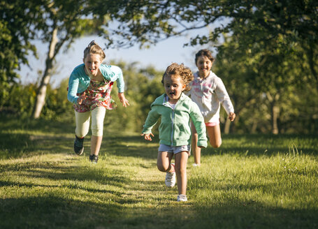 Three running girls on a meadow - MGOF000297