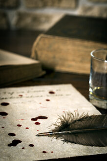 Suicide letter on parchment paper with blood drops and quill - MID000483