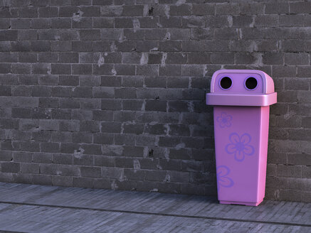 Pink dustbin with floral design, 3D Rendering - AHUF000018