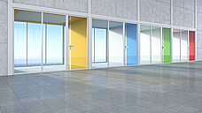 3D Rendring, modern architecture, offices, colorful glass doors, courtyard - UWF000545