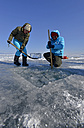 Russia, Lake Baikal, preparation of an ice hole  for ice diving - GNF001356