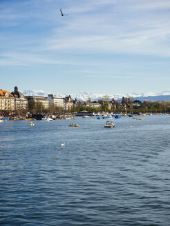 Switzerland, Zurich, Cityscape, Lake Zurich, Alps in the background - KRPF001478