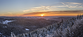 Germany, Saxony-Anhalt, Harz National Park, Landscape in winter at sunset - PVCF000454
