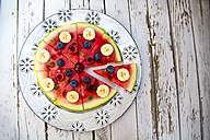 Watermelon pizza, banana, blueberries, cherries, mint - SARF002013