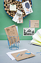 Pinboard made of corks, wooden postcards and label holder made from lampshade - GIS000132