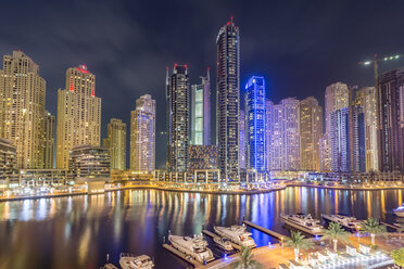 UAE, Dubai, view to Dubai Marina at night - NKF000291