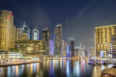 UAE, Dubai, view to Dubai Marina at night - NKF000302