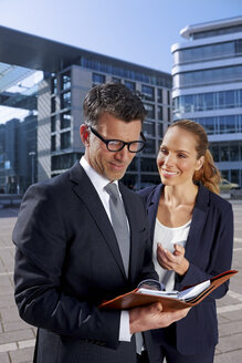 Germany, Stuttgart, portrait of two business people - CHAF000351