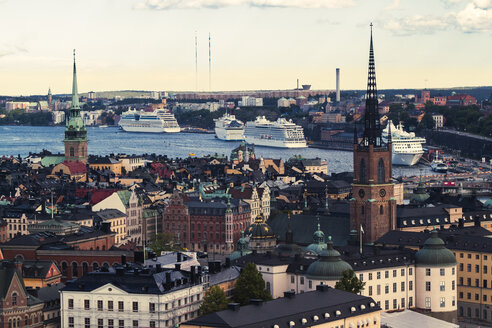 Sweden, View across the Gamla Stan island towards the cruise ship harbor of Stockholm - ZMF000408