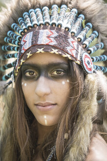 Portrait of young woman masquerade as an Indian - ASCF000216
