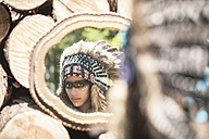 Mirror image of young woman masquerade as an Indian - ASCF000221